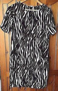 Wallis-Zebra-Animal-Print-Tunic-Dress-Size-UK10-EU38-Smart-Work-Office-RRP-35
