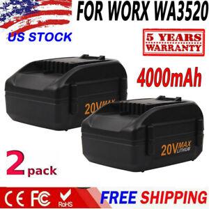 2X-4-0Ah-WA3525-For-WORX-WA3520-WG155-WG163-WG540-WG151-20V-MAX-Lithium-Battery