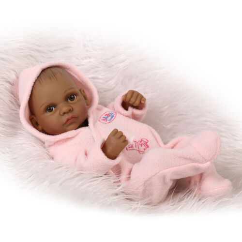 Mini Reborn Baby African American Baby Doll Black Full Vinyl Silicone Alive Doll