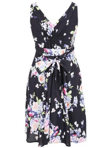 SALE LADIES FLORAL PRINT TIE WAIST DRESS BLACK NEW ref 826