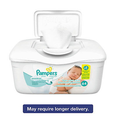 Diapering Pampers Sensitive Baby Wipes White Cotton Unscented 64/tub 8 Tub/carton 19505ct Baby Wipes