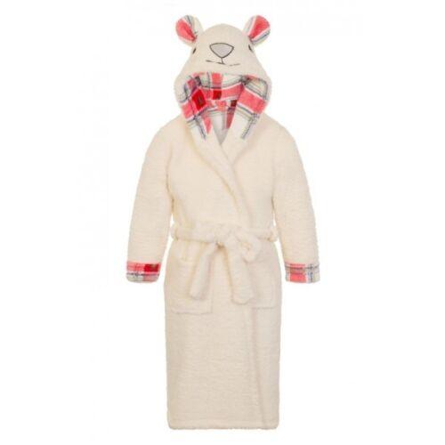 Unisex Kids Super Soft /& Cosy Cream Fleece Polar Bear Hooded Dressing Gown//Robe
