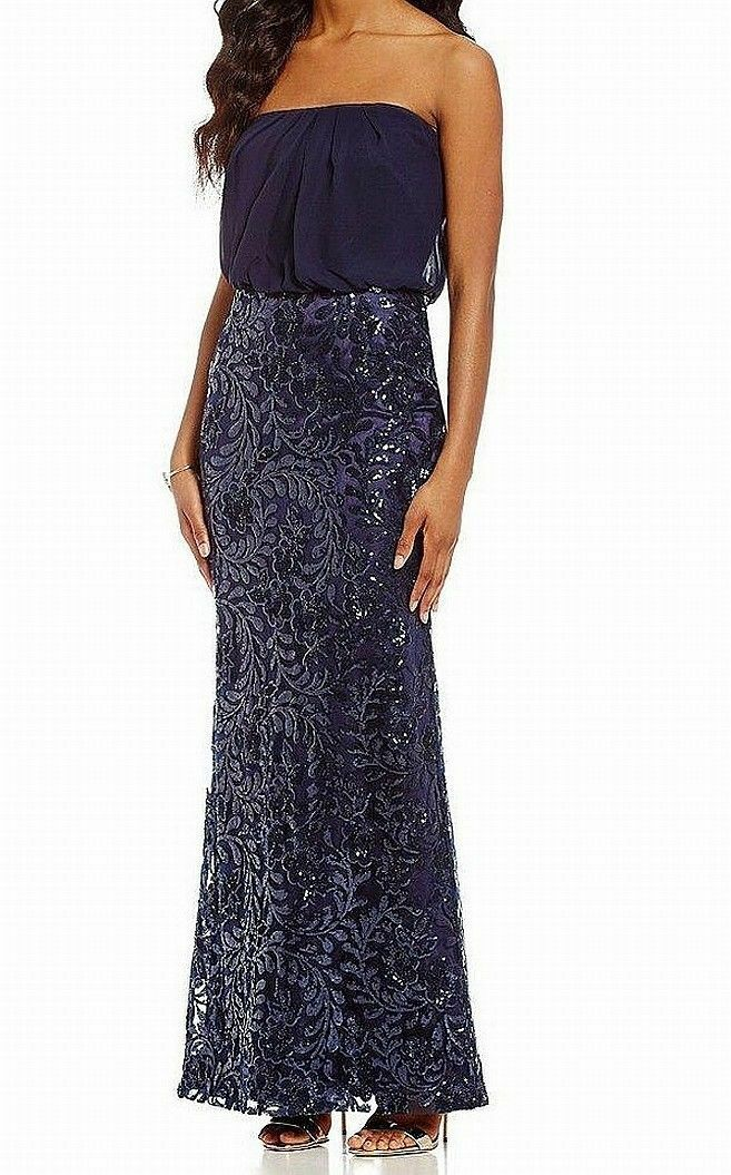 VINCE CAMUTO SEQUINED STRAPLEES NAVY GOWN DRESS sz 8
