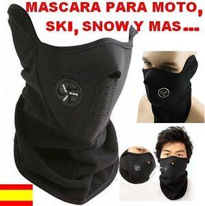 Braga cuello mascara neopreno pasamontañas bufanda snow moto bici forro NEGRO
