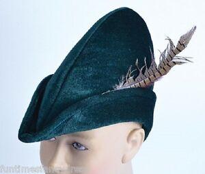 Mens-Green-Fabric-Robin-Hood-Peter-Pan-Hat-Medieval-Hat-Fancy-Dress