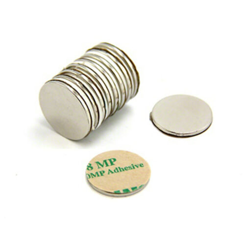 Pack of 10 Adhesive 20mm dia x 1.5mm N42 Neodymium Magnet 2kg Pull South