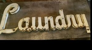 Antique American Trade Sign Laundry C 1940 Advertising Typography Ebay