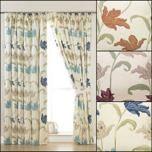 A-PAIR-OF-KINSALE-FLORAL-3-034-TAPE-TOP-LINED-CURTAINS-IN-MULTIPLE-COLOURS-amp-SIZES