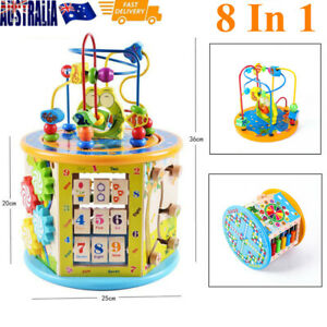 Wooden-Activity-Cube-8-in-1-Baby-Bead-Maze-Toys-Kids-Educational-Early-Learning