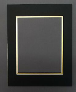 10-11x14-Double-Mats-with-WhiteCore-for-8x10-Backing-Bags-Black-Over-Gold