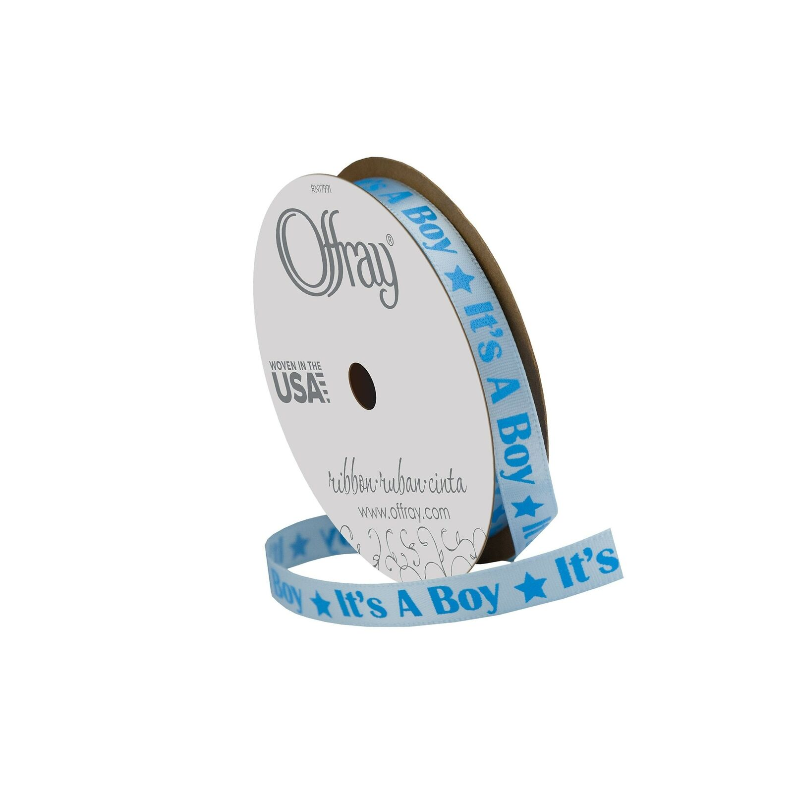 Blue Offray Baby Celebration Craft Ribbon 3//8-Inch x 12-Feet