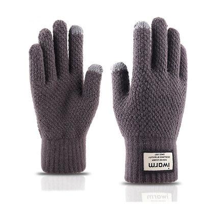 Men Women Touch Screen Gloves Winter Warm Fleece Lined Thermal Knitted Black Hot