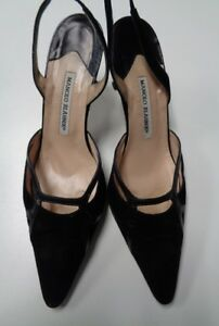 ddce535e506 Image is loading MANOLO-BLAHNIK-Black-Pointed-Toe-Slingback-High-Heels-