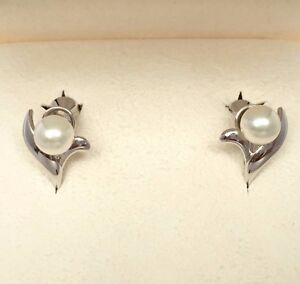 Image Is Loading Mikimoto Silver Akoya Pearl Earrings Original Box Auth