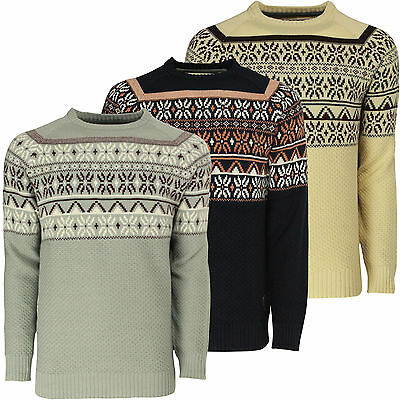 Mens Patterned Sweater Soulstar Casual Winter Fashion Knitted Jumper Pullover