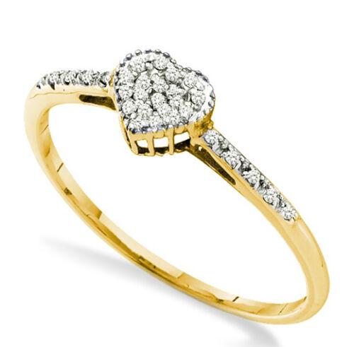 10K or Jaune En Forme De Coeur Bague Diamant conception du Cluster avec accents Band SZ 5-9