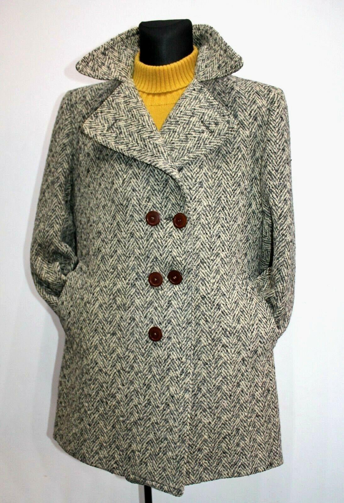 Vintage 70s TWEED Herringbone Pea coat Grey Beige Wool Mens Retro Size L Large