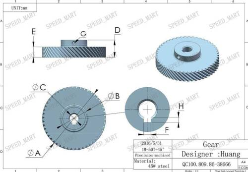 1M-50T Module Metal Spiral Bevel Wheel Motor Gear 90° Gearing 50 Tooth 12mm Bore