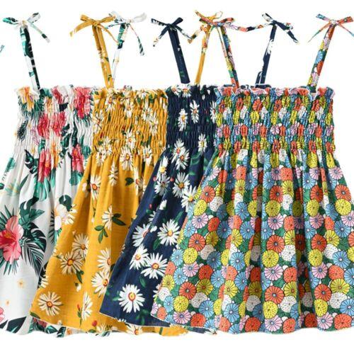Toddler Baby Kids Girls Floral Dress Flowers Ruched Strap Summer Princess Dress