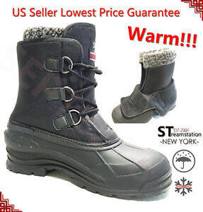 Men-039-s-Black-Winter-Snow-Boots-Shoes-Warm-Lined-Thermolite-Waterproof-10-034-2006