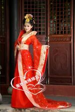 Gorgeous Chinese Ancient Infanta Princess Costume Lace Trail Robe Dress Red