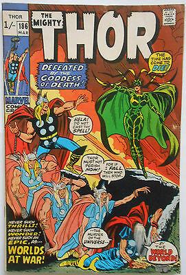 THOR #186 - MAR 1971 - HELA APPEARANCE! - FN (6.0) PENCE COPY!