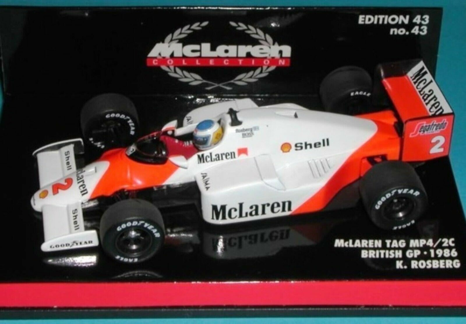 WOW EXTREMELY RARE McLaren 1986 MP4 2C TAG Rosberg British GP 1 43 Minichamps