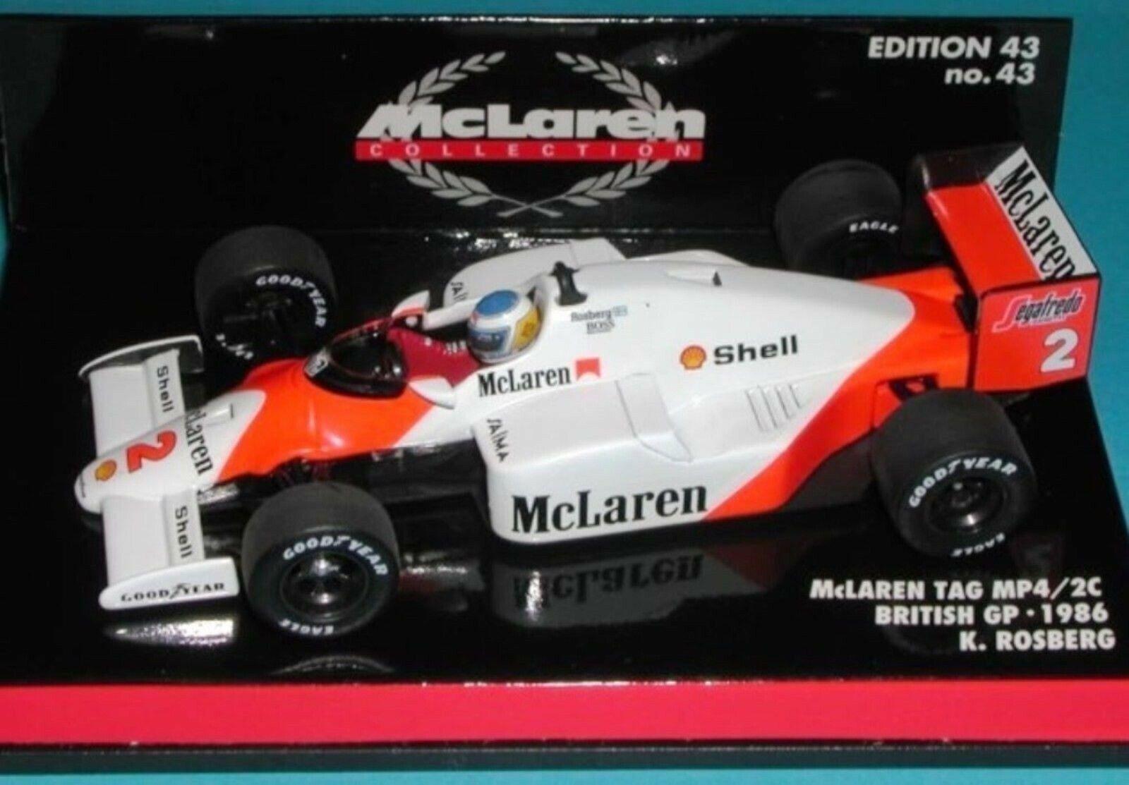 Wow extrêmement rare McLaren 1986 étiquette MP4 2C Rosberg British Gp 1 43 Minichamps