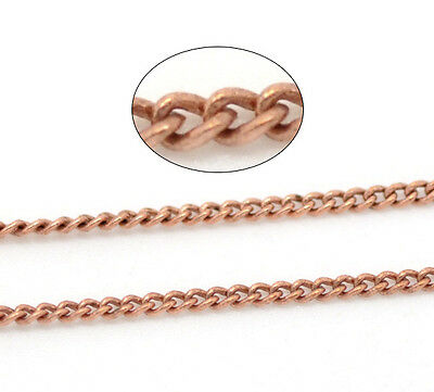 10M Copper Tone Link-Soldered Curb Chains 1x1.5mm