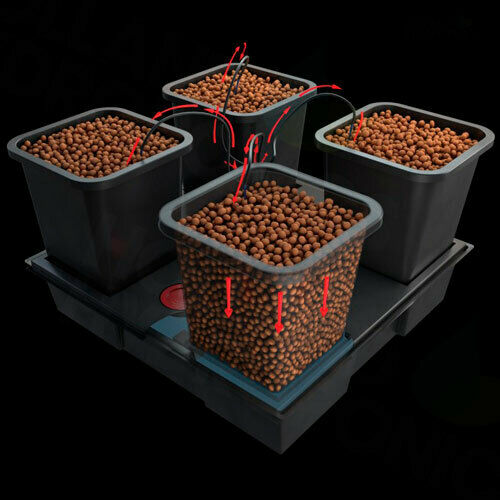 Wilma 4 Pot Large 18L Complete Hydroponics Dripping Growing System kit 75x75 cm