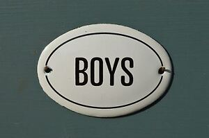 SMALL OVAL ENAMEL METAL BOYS DOOR SIGN PLAQUE DOOR SIGN ENAMELED TOILET SIGN Architectural Antiques Signs