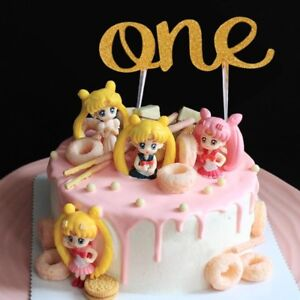 Handmade 1st First Birthday Cake Topper One Double Sided Gold