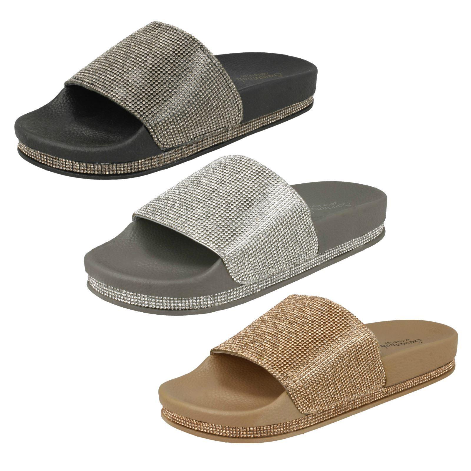 Men/Women Ladies Savannah Slip On Diamante Slider Mules Complete specification shoes range fashionable Vintage tide shoes specification WB1193 b10b8c