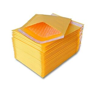 100 pcs #000 Kraft Bubble Padded Envelopes Self-Sealing Mailers 4X8 (Inner 4x7)