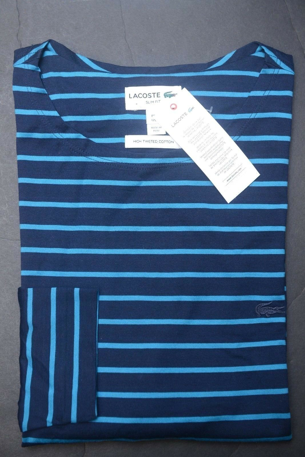 Lacoste Men's Slim Fit bluee Striped High Twisted Cotton Henley Shirt S