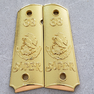 Mexican-Eagle-1911-GUN-GRIPS-38-Super-Nickel-Ambi-Cut-Safety-Gold-Cachas-Grips
