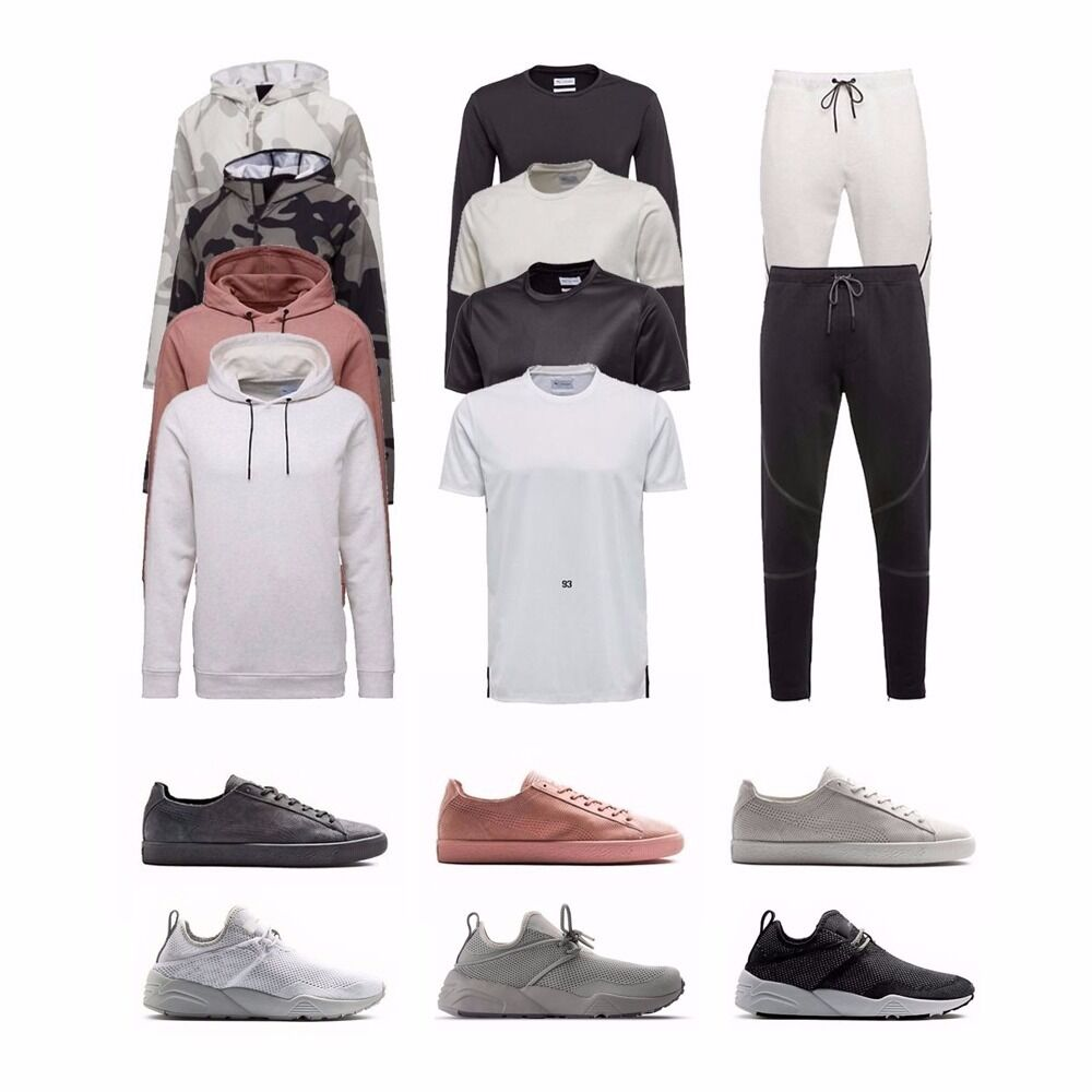 Puma x Stampd Clyde Trinomic Tejido L S T-Shirt Con Capucha Pantalones de pista Jackpack para hombre
