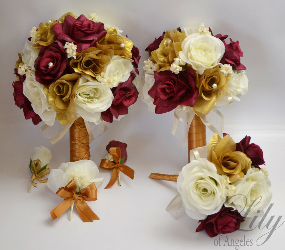 17 pièce paquet Robe de Mariage Bouquet De Fleurs De Soie Or Bourgogne vin Sangria