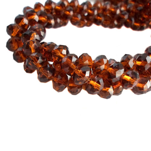 Glass Rondelle Faceted Brown Topaz Loose Beads crystal 3mm 4mm 6mm 8mm 10mm 12mm