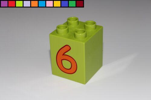 Motivstein Zahl 6 Baustein 2x2 4er hoch Lego Duplo Lernspiel grün