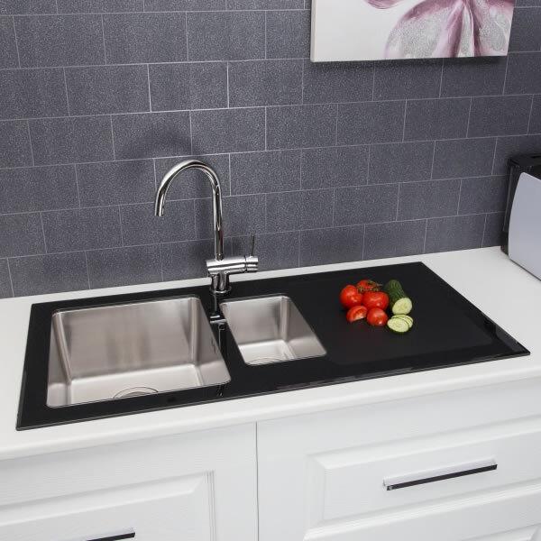 Modern Stainless Steel 1.5 Bowl Kitchen Sink 8mm Black Glass ...