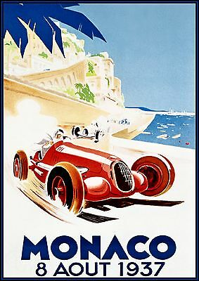 Vintage Grand Prix Monaco 1933 Home Decor Canvas Print choose your size.