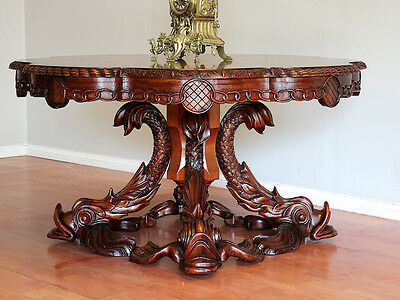 Vintage French Rococo  Pedestal Dining Kitchen Hall  Centre Table  Burr Walnut
