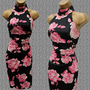Exquisite-Karen-Millen-Floral-Rose-Print-Halterneck-Cocktail-Pencil-Dress-SZ-8