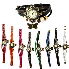 Women's Ladies Fashion Boho-Chic Handmade Leather Bracelet Watch Butterfly Gift