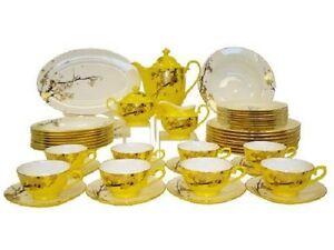 Auratic Fine Bone China Dinnerware Set 47 Piece Yellow Glaze CP 47 FE10 271A