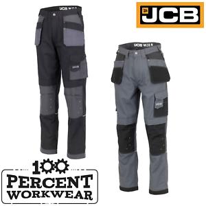 JCB-Workwear-Trade-Plus-Rip-Stop-Men-Work-Trousers-Pants-Tool-Pockets-Black-Grey