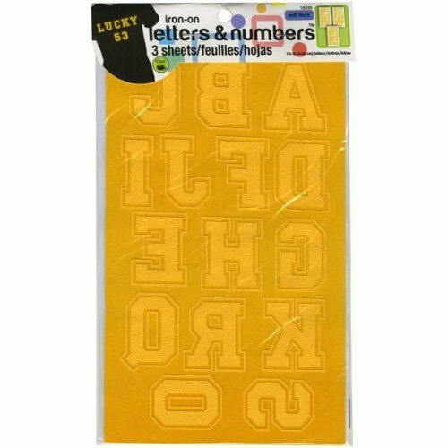 Dritz Fabric Soft Flock Iron-On Letters and Numbers 1.75-inch Collegiate-Gold