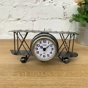 Antique-Vintage-Retro-Home-Freestanding-Aeroplane-Plane-Floating-Metal-Clock-A