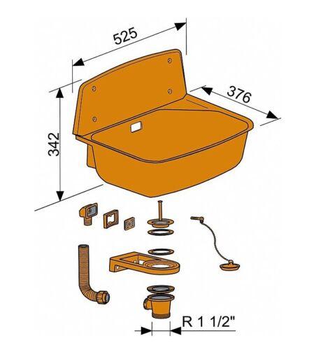 9300766 Ausgussbecken Set mit Sifon und Rost Nina schwarz # 9300734 9300804